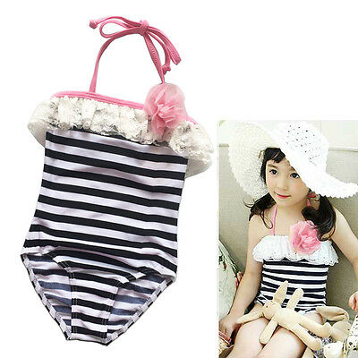 Girls Kids Lace Swimsuit Black Striped One-piece Swimwear Children Bathing Suit