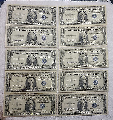1935 and 1957 Silver Certificates (10 notes total) EF and better- free ship