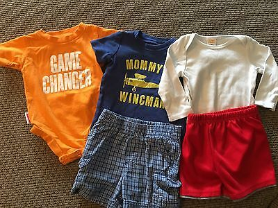 Mixed Lot of 5 Pieces Romper, Shirt, Shorts, Baby Boy, Size 6-12 months