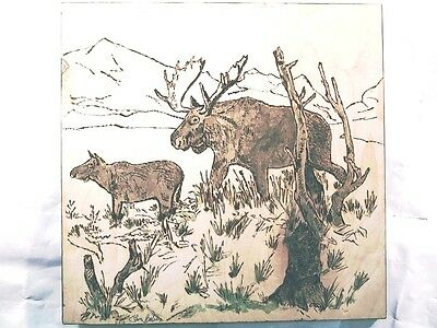 Pyrography- Moose-Handcrafted-Wood Burnt Wall Plaque Signed