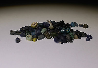 Ancient Roman Blue Glass Beads Circa 2Nd Century Ad - No Reserve!