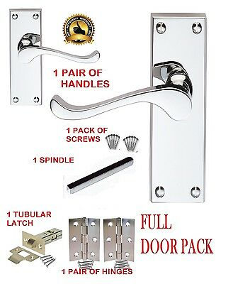X1 FULL DOOR PACK | CHROME | 'Scroll' Lever Door Handle | Silver Handle | Modern