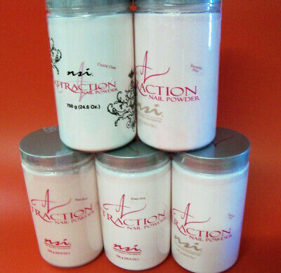 Nsi Attraction Acrylic Pink Clear White Nail Powder - Choose Colour & Bag Size