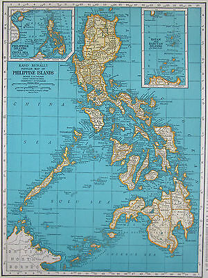 1944 PHILIPPINES Map Batan China Sea Yellow Turquoise or Puerto Rico Caribbean