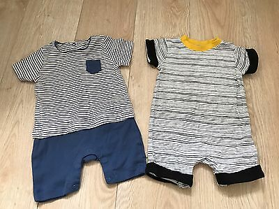 Baby Boys Short Sleeved Rompers 0-3 Months Mamas And Papas/Baby K