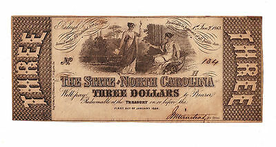 1863 $3 obsolete currency STSTE OF NORTH CAROLINA RALEIGH NC