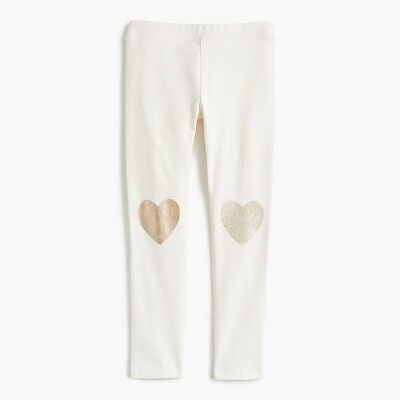 J.Crew Girls' everyday leggings with metallic heart patches Ivory Size 5 G1265 J