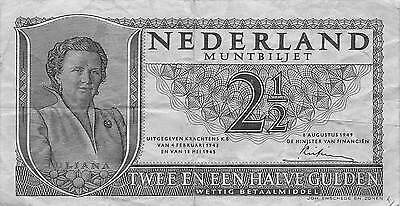 Netherlands 2 1/2  Gulden  8.8.1949  Series 3NJ Circulated Banknote E422EL