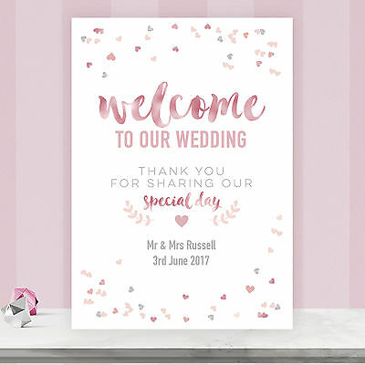 Personalised Welcome To Our Wedding Sign Poster Blush Gold & Pink Confetti BLG1