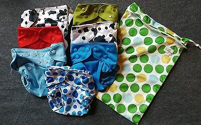 WOLBYBUG Cloth Pocket Diaper Reusable Washable Lot of 7 Diapers plus Bag!