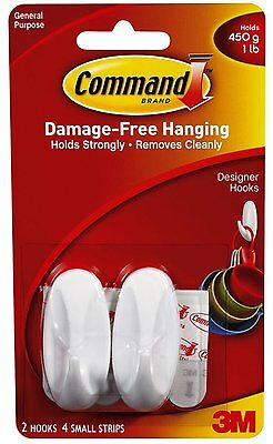 2 x 3m Command Small Designer Hooks White Damage Free Utensil Hanging Holds 450g