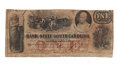 1861 $1 Obsolete Currency State Bank South Carolina Julius Ceaser Sc Charleston