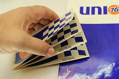 1960's Union 76 Advertising Decals, Book of 5 Checkered Flag Racing Fuel Sticker