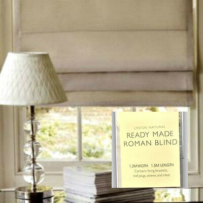 2X Laura Ashley Lynton Natural Ready Made Roman Blind 1.2M-Width 1.5M-Length