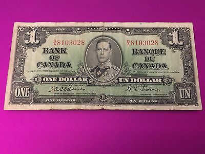 1937 OTTAWA BANK OF CANADA $1 ONE DOLLAR BILL King George VI