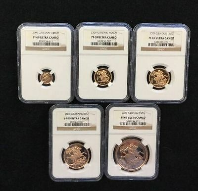 2009 Great Britain 5-Piece Gold Sovereign Proof Set NGC PF-69 Ultra Cameo