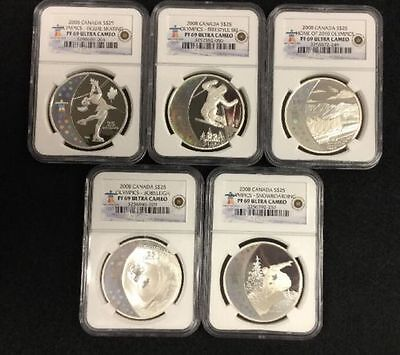 2008 Canadian 5 Piece Silver $25 Set Grading NGC PROOF-69 Ultra Cameo - In Box