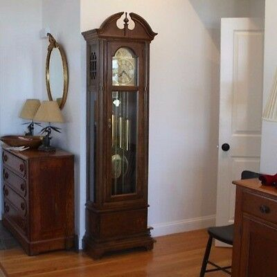 Seth Thomas Floor Clock Grandfather Clock Solid Wood Excellent Triple Chime