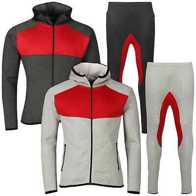 New Mens Slim Fit Tracksuit Full Set Fleece Hoodie Bottoms Jogging Joggers Gym
