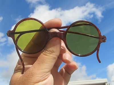 Antique 1920's French Celluloid Tortoise Shell Green Round Lens Sunglasses