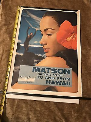 1960s Original Hawaii Matson Resorts Afloat to & from Hawaii Poster