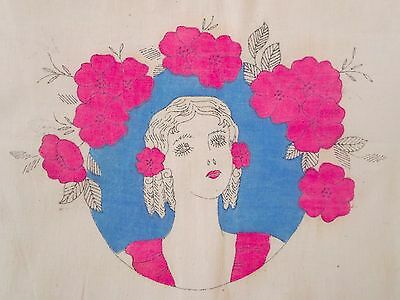 "Vintage 1920s Art Deco Flapper Woman Print on Cotton 13"" x 30"""