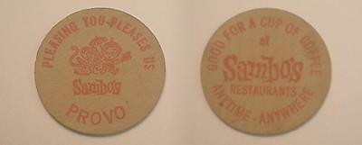 Provo, (UT) Wooden Nickel Coffee Token - Sambo's