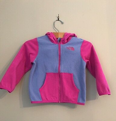 The North Face Toddler Girl Fleece Zip Up Jacket Pink Purple Size 18-24m