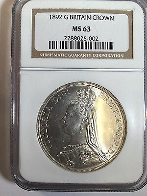 1892 Victoria British Crown -Ngc Ms-63 Rare In This Grade