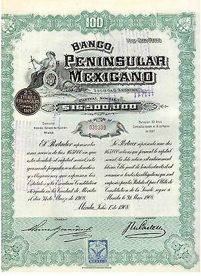 Banco Peninsular Mexicano 1908    uncancelled / Coupons   Mexico