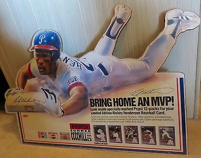 Signed Oakland A's Rickey Henderson Stolen Base Pepsi Promo Display 1-of-a-Kind