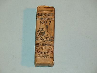 """Humphrey's Homeopathic Bottle #7 Whooping Cough Medicine Antique """"Quack"""" ~Full~"""