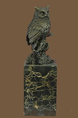 OWL Bird Signed Collectible Bronze Marble Base Bookend Sculpture Statue Figure