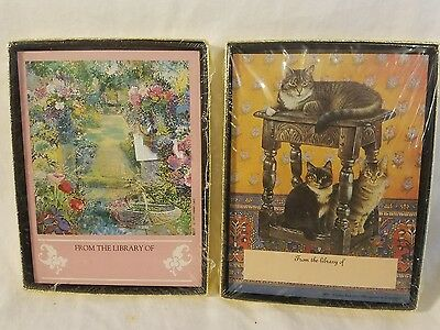 Cats and Garden Book Plates Two Boxes of Antioch Bookplate Company New in Box!