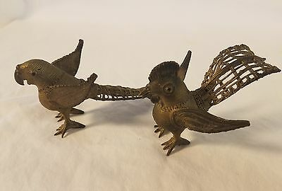 Awesome Pair of Antique Wound Wire Brass Cast Birds Parrot and Rooster Elaborate