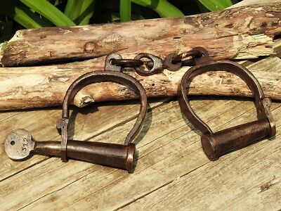 Old West Replica Handcuffs - Hand Forged - Shackles - Antique - Medieval Dungeon