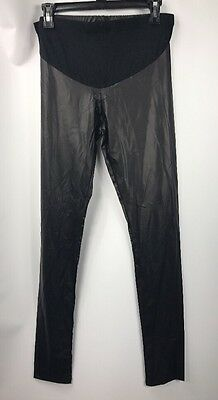 asos Maternity Faux Leather Black Leggings Belly Panel NWT US size 6