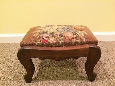Antique 19th c Victorian~Wood peg joined~ Needlepoint t padded foot stool