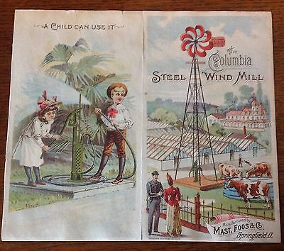"""Old Victorian Tradecard- """"The Columbia Steel Wind Mill""""-Manuf. Springfield, Ohio"""