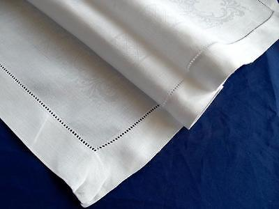 Antique White Damask Scrolls Linen 18x27 Runner Hand Hemstitched LG Tray-Cloth