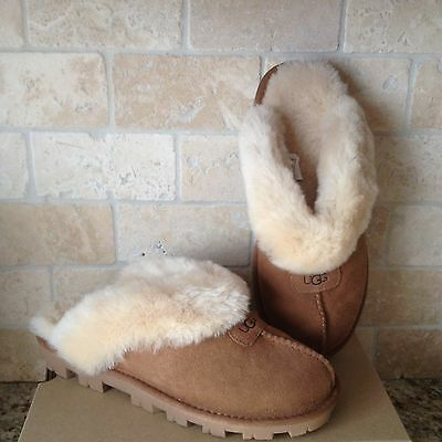 Ugg Coquette Chestnut Suede Sheepskin Slippers Shoes Us 9 Womens 5125