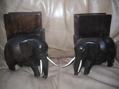 Vintage Elephant Carved Ebony and Bone Book-ends Nice!