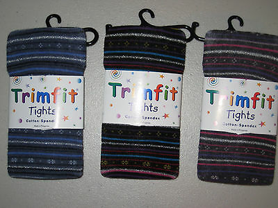 Trim Fit Sparkly Footed Stripe Tights Bling fits Ages 2 to 12 Metallic