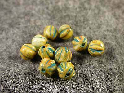 10 Old Watermelon Trade Beads Turquoise & Blue Colors Good Patina