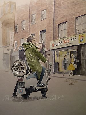 Mods Vespa Lambretta Print 2i's Coffee Bar from my original watercolour painting