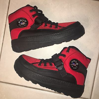 Vintage Ralph Lauren Polo Sport Extreme Hi Top Boots Shoe 11 Red Bear 2000 90s