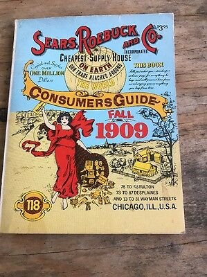 Vintage Fall 1909 Sears, Roebuck and Co. Consumer's Guide reprint 1979 Chicago
