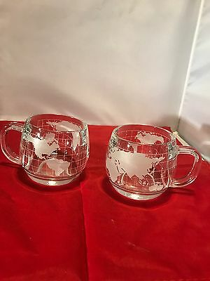 LOT of 2 Vintage Nestle Globe World Map Etched Coffee Mugs Glass Nescafe Cups