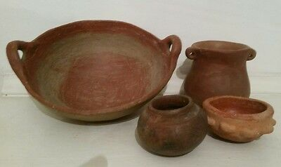 Pre-columbian Pottery, set of four vessels