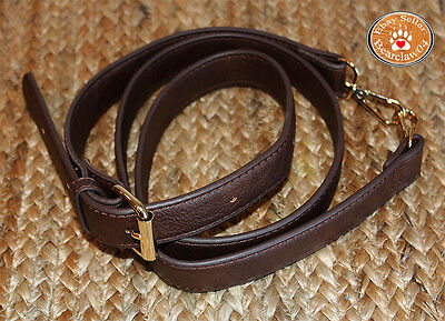 "54"" Adjustable Brown Leather Gold Hardware Handbag Replacement Crossbody Strap"